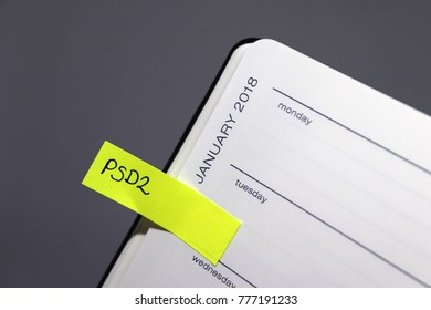 Payment Services Directive 2 (PSD2) - January 2018 Reminder Tab in Diary