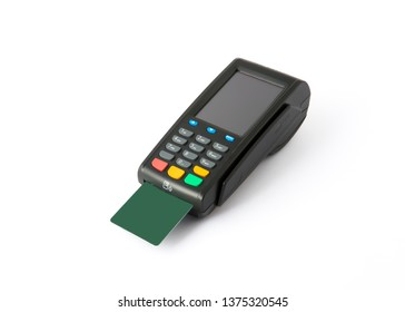 payment terminal with card on white background
