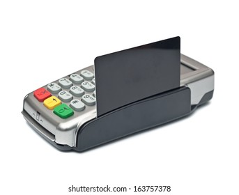payment terminal, card on white background isolated