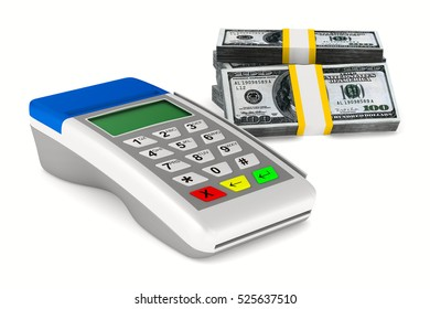 Payment terminal and cash on white background. Isolated 3d image.
