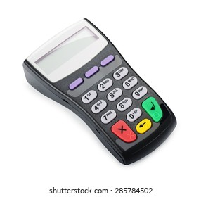 Payment terminal for credit card isolated on white background