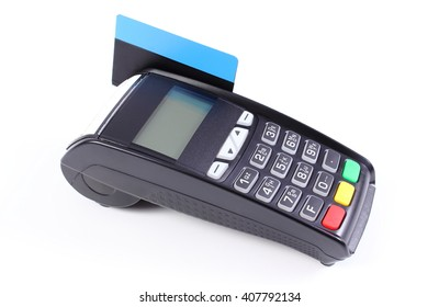 Payment terminal, credit card reader with credit card on white background, cashless paying for shopping, finance concept