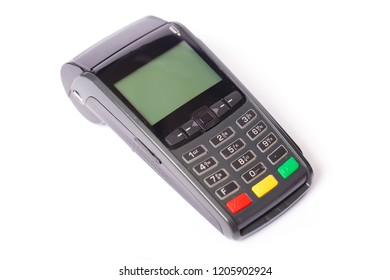 Payment terminal on a white background