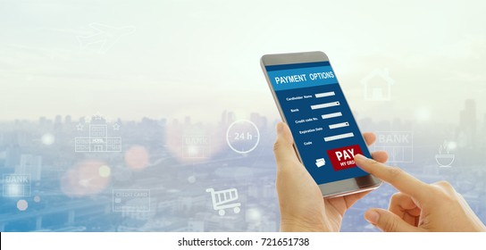 Payments concept. Mobile banking network. business people using mobile phone with icon application online payment.