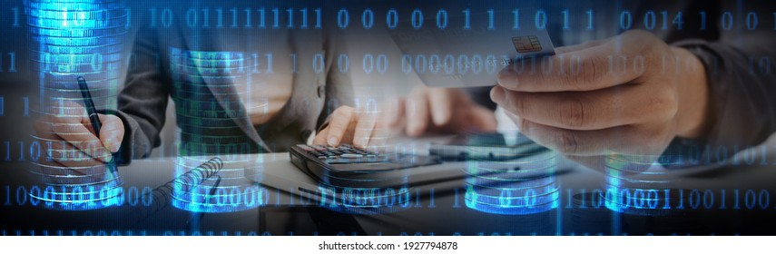 Payments System Hacking. Online Credit Cards Payment Security Concept. Hacker in Black Gloves Hacking the System.