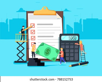 Payroll. Expenses, salary calculation concept. Flat design graphic elements, flat icons set. Premium quality. Modern concepts for web banners, websites, printed materials illustration