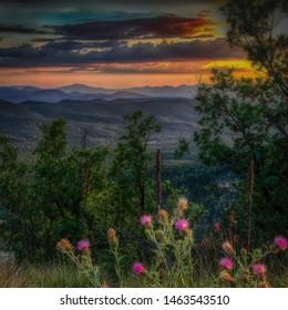 Payson Arizona sunset as seen from the Mogollon Rim.