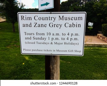 Payson, Arizona / USA - August 24, 2017: Information Entrance sign for the Rim Country Museum and Zane Grey Cabin located in Payson Arizona