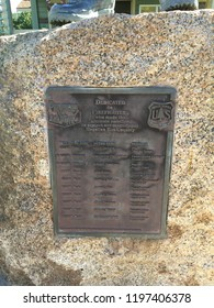 Payson, Arizona / USA - October 4, 2018:  Plaque on rock commemorating fallen firefighters in Mogollon Rim Country by US Forest Service