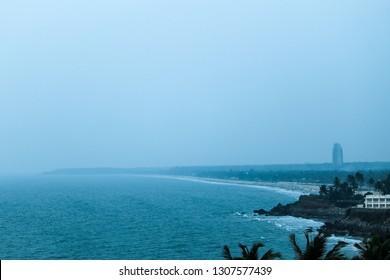 Payyambalam beach, as seen from Kannur Light House, Kerala.