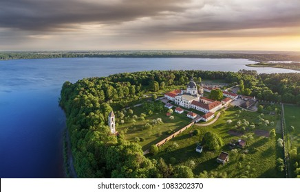 Pazaislis Monastery in Kaunas, Lithuania. One of the Famous Place in Lithuania located on a peninsula. Kaunas Reservoir is near it. Drone aerial view.