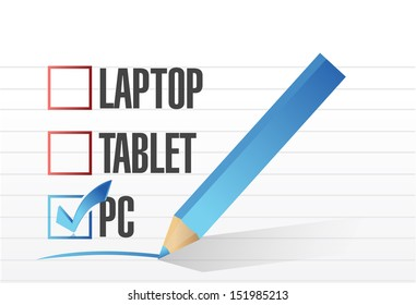 pc checkbox selected over other technology tools. illustration design