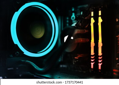 pc components with rgb led lights closeup