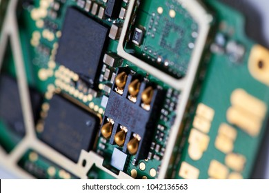 PC computer motherboard or graphic card interface, printed circuit, cryptocurrency mining concept