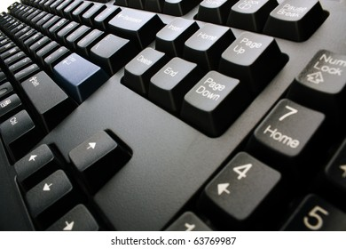 PC keyboard of black color closeup view
