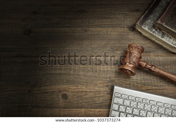 Pc Keyboard Old Books Judge Gavel Stock Photo (Edit Now