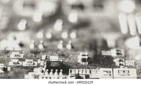 PC microcircuits. Macro computer electronics background texture with no people top view.