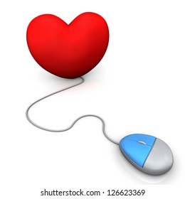 PC mouse with red heart on the white background.