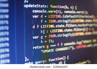 PC software creation business. Software engineer at work. Software source code. Abstract source code background. Writing programming functions on laptop. Big data database app.