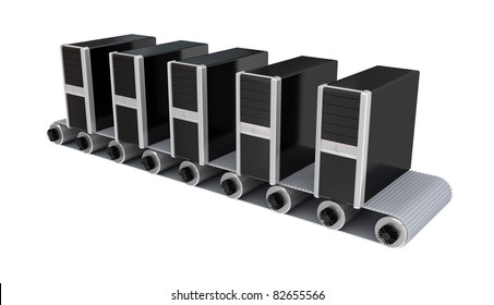 PC towers on conveyor. 3d rendered. Isolated on white.