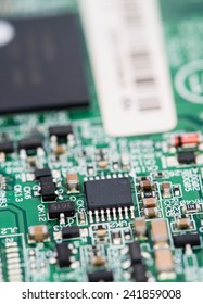PCB macro shot with a lot of electrical components