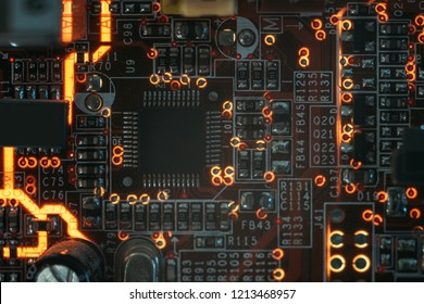 pcb microchip and integrated electronic components. microelectronics and engineering.
