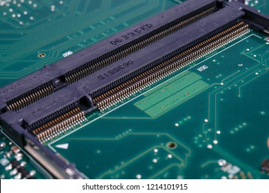 PCI connector slot in motherboard PC / Laptop. Selected foucs macro