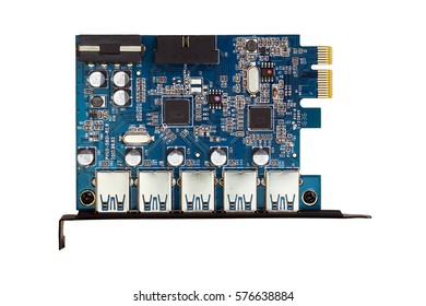 PCI Express  Port USB 3.0 Adapter - computer part on white isolated background.