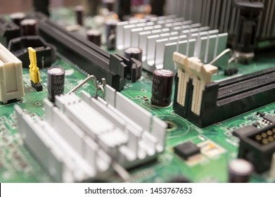 PCI Express slot on motherboard with ram slot and radiators