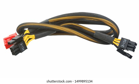 PCI-Express cable video card of computer isolated on white background