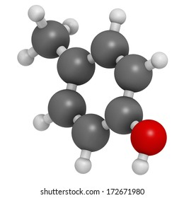 P-cresol (para-cresol, 4-methylphenol) molecule. Component of human sweat. Atoms are represented as spheres with conventional color coding: hydrogen (white), carbon (grey), oxygen (red).