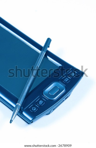PDA and Pen on white background