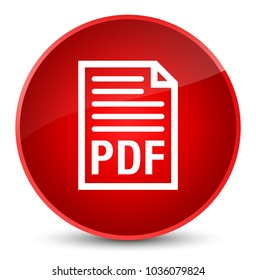 PDF document icon isolated on elegant red round button abstract illustration