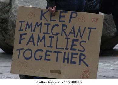 PDX, Portland, Oregon, United States of America, July 2, 2019: Immigration protest featuring the ACLU, Indivisible, and others. Close the camps, keep immigrant families together, and more signs.