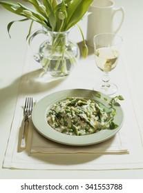 Pea asparagus risotto