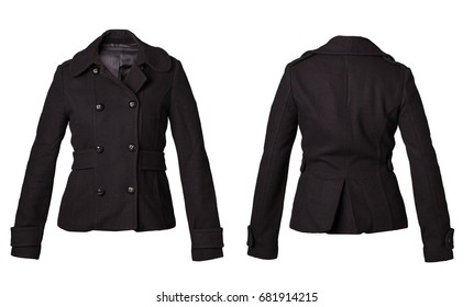 Pea coat woman for winter jacket fashion back and front side