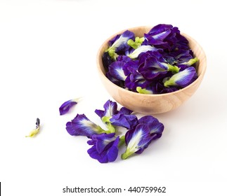 Pea flowers on white background
