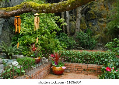 Peace and beauty in an oriental style garden