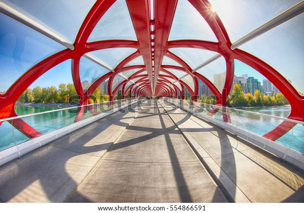 Peace Bridge, Calgary, Alberta, Canada. Sept 21 2012.  Picture of the Peace Bridge in a sunny autumn day.