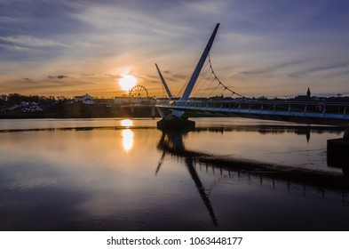 Peace bridge in Derry Londonderry at Sunrise
