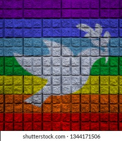 peace color on wall with bird of peace symbo