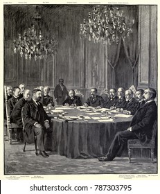 Peace commissioners after finalizing the Treaty of Paris, ending the Spanish American War. Dec. 10, 1898. It guaranteed Cuban independence but transferred Puerto Rico, Guam, and the Philippines, to th
