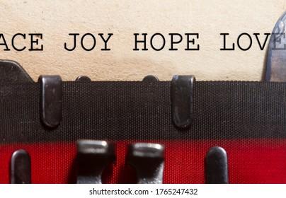 Peace joy love and hope