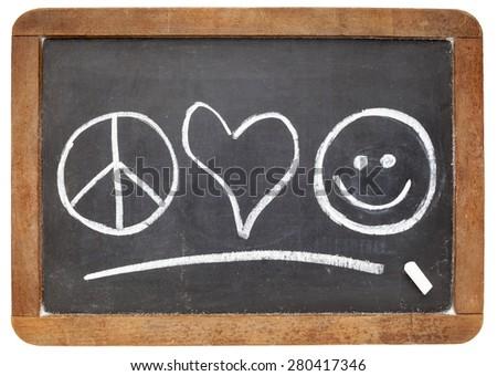 Peace Love Happiness Symbols White Chalk Stock Photo Edit Now