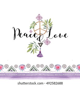 Peace and Love typography. Watercolor illustration.