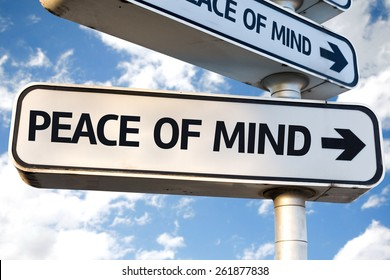 Peace of Mind direction sign on sky background