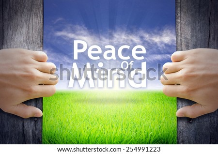 Peace Mind Motivational Quotes Hands Opening Stock Photo Edit Now