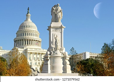 Peace Monument (1877-1878), also known as Naval Monument or Civil War Sailors Monument, stands on grounds of United States Capitol in Peace Circle, Washington, D.C.