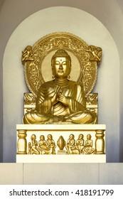 Peace Pagoda â?? Battersea Park. London. Golden Buddha Statue