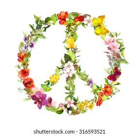 Peace sign with flowers for Peace day. Watercolor